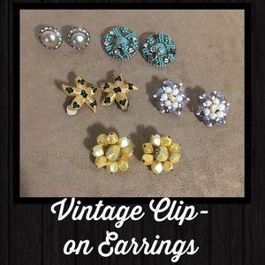 Vintage Clip-on Earrings Bundle Rhinestone Gold